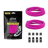 Xpand Lacets de chaussures élastiques, plats, avec tension réglable, sans nœud, compatibles avec toutes les chaussures - Rose -...
