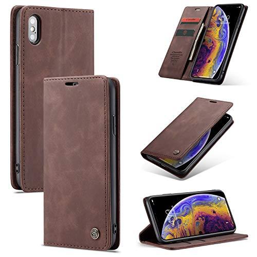 Cubierta de teléfono Teléfono for el iPhone X / X, El cuero del teléfono retro mate suave de la caja es magnético y puede ser utilizado como una delgada carpeta del teléfono caso for un soporte for te