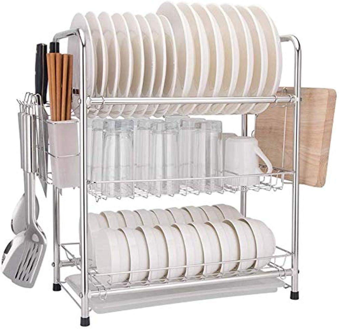 ピック沿って実装する便利な実用的な食器棚食器水切り器キッチン収納ラック水切りラック箸/ナイフ/まな板ホルダー水切り