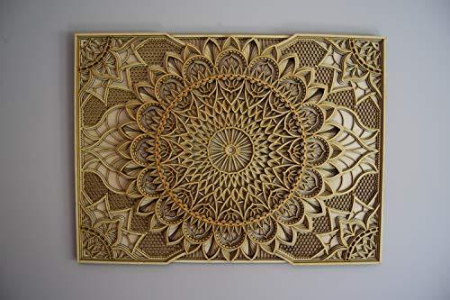 Holz Mandala Wohnung Dekor Elegante Hauswandkunst Farbige Küche Hängende Chakra Spirituelle Yoga Meditation (78x58cm, Natural)