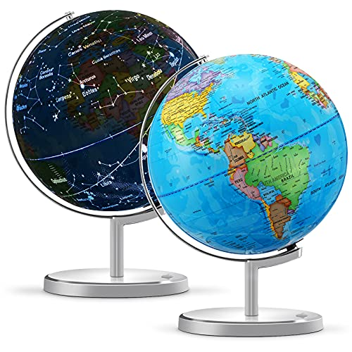 """World Globe for Kids, 13"""" Diameter 3 in 1 Illuminated Spinning World Globe Display Nightlight, Earth Globe with Heavy Duty Stand for Kids LED Night Light Lamp, Political Map and Constellation"""