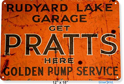 SIGNCHAT Pratts Pomp Service Olie Gas Pomp Metalen Onderdelen Auto Shop Garage Metalen Tin Teken 8X12 Inch