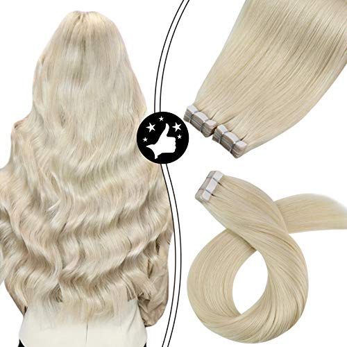 Moresoo 28 Inch Tape in Human Hair Extensions Platinum Blonde 100G...
