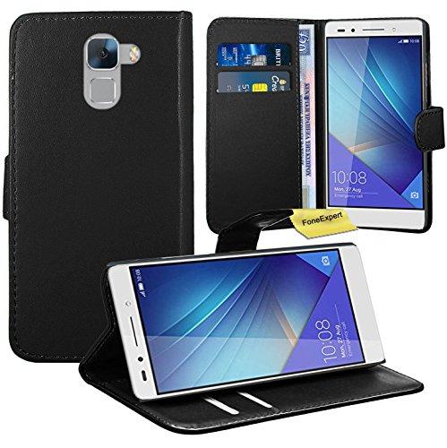Huawei Honor 7 Handy Tasche, FoneExpert® Wallet Hülle Flip Cover Hüllen Etui Ledertasche Lederhülle Premium Schutzhülle für Huawei Honor 7 (Schwarz)