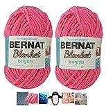Big Ball Blanket Yarn 2-Pack Bundle by Bernat Plus 6 Blanket Yarn Patterns Super Bulky #6 10.5 Ounce Ball 220 Yards (Pixie Pink)