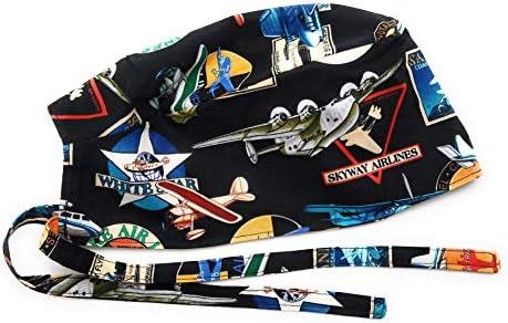 Scrub Hat Antique Airplanes Aviation Cotton Fabric Cap Do Rag Skull Black product image