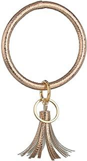 O Ring Keychain Bracelet Bangle Keyring/Large Circle Tassel/Silicone Wristlet Key Ring Bracelet Holder for Women Girls