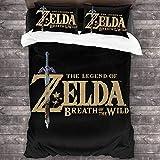 cuicui The Legend of Zelda - Juego de ropa de cama, funda nórdica y impresión digital en 3D, apto para los amantes del juego (A03, 220 x 240 cm + 80 x 80 cm x 2)