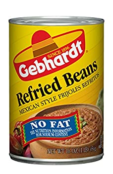 Gebhardt Mexican Style Fat Free Refried Beans 16 Ounce  Pack of 24