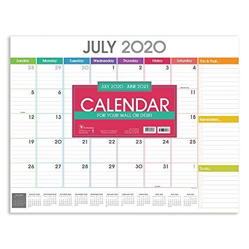 Rainbow Blocks Large 17 x 22 Desk Pad Monthly Blotter Calendar (July 2020 - June 2021)