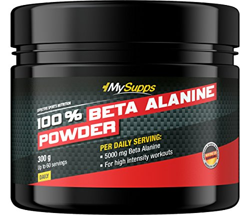 MySupps- 100% Beta Alanin Powder, 5000mg Beta Alanin + Vitamin B6 pro Portion, Workout Formula für Sportler & Athleten, 60 hochintensive Portionen, Made in Germany- 300g Pulver