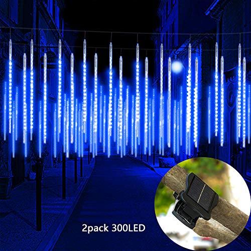 Starry Love upgrade clip solar meteor shower rain light, 2 pieces of 50 cm 10 tubes, 300 LED,Home Umbrella light, Christmas decoration waterproof light for wedding home garden (blue)