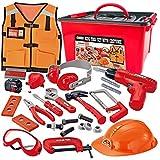 JOYIN Juego de 24 piezas de herramientas de construcción, juego de juguete de construcción, incluye traje de trabajo de construcción y taladro eléctrico en caja de almacenamiento
