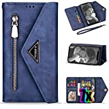 Samsung Galaxy A20 Case Wallet for Women/Girls with Card Holder,Vodico A30 Leather Folio Flip Zipper Pocket Clutch Purse Folding Magnetic Clasp Full Body Shockproof Stand Cover with Strap (Blue)