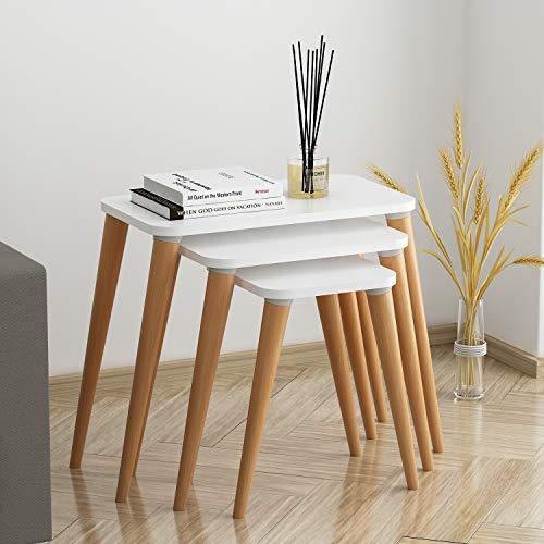 Vivense Elene Set Of 3 Nesting Table - White