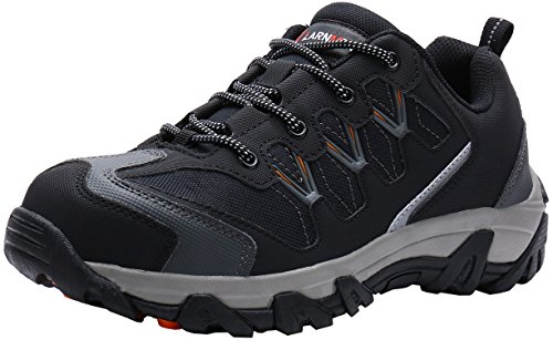 LARNMERN Zapatos de Seguridad para Hombre, Puntas de Acero Antideslizantes SRC Anti-Piercing Zapatos de Trabajo (41 EU Negro)