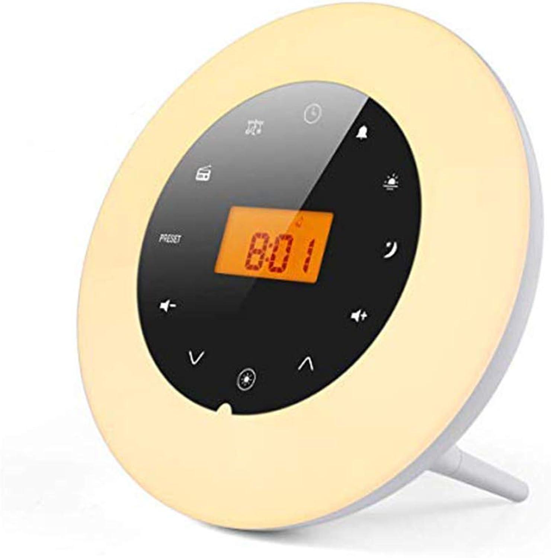 Lichtwecker, LED Wake Up Light Wecker mit Sonnenaufgangssimulation, 18 Stationen FM Radio Wecker mit Licht 7 Farben, 8 Wecktne Digital Uhr Tageslichtwecker Nachtlicht Nachttischlampe für Kinder