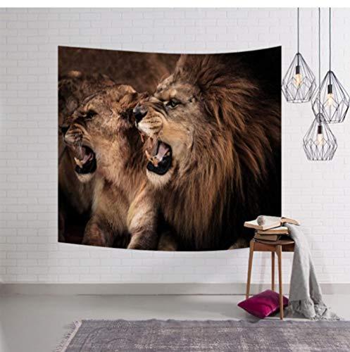 Zbzmm Hoofddecoratie-mandala leeuw groot tapijt wandkleed deken sprei decor yoga strandmat sjaal_200x150cm