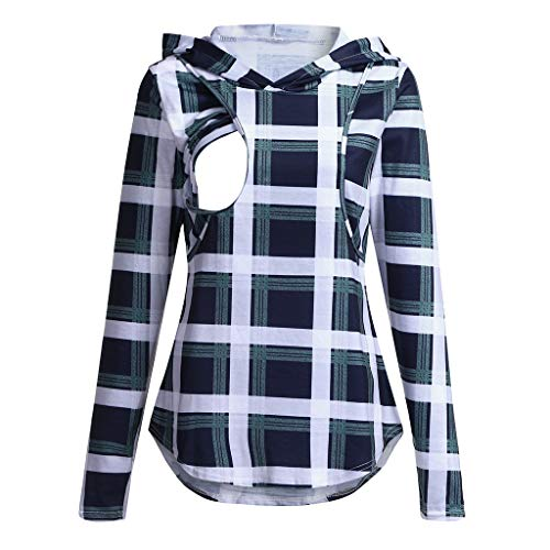 Read About Women's Long Sleeve Nursing Tops Notch Neck Plaid Breastfeeding Hoodies (Green, L)