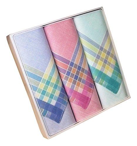Karl Teichmann Farbiges Damen Stofftaschentuch I Stoff-Taschentücher mit Farbiger Satin-Kante I 3-er Pack I 100% Baumwolle I 30 x 30 cm