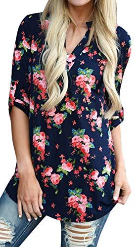Mujeres Camisa Elegante Blusa Mangas Largas Camiseta Polsillo Escote V