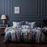 Omela Bettwäsche Set 220x240 Bohemian Exotisch Boho Style 3 teilig Microfaser Modern Blau Deckenbezug mit Reißverschluss - 220 x 240 cm + 2 x 80 x 80 cm