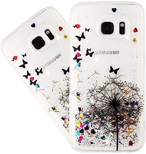 IMEIKONST Compatible con Galaxy S6 Edge Funda Glitter Liquid Brillante Sparkle Quicksands Case Transparente Silicona TPU Protective Caso para Samsung Galaxy S6 Edge Bling Dandelion XY