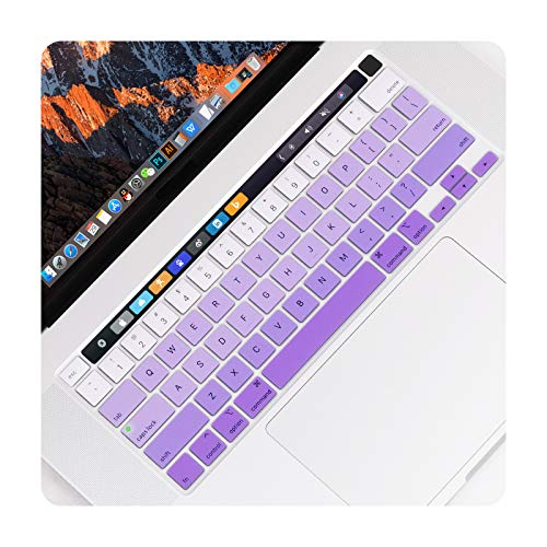 Gradient Color Keyboard Cover For MacBook Pro 13 inch 2020 Model A2289 with Touch Bar & Touch ID Keyboard Skin Film Protector-Gradient Purple