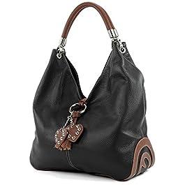 modamoda de – shopper sac à main en cuir italien sac à bandoulière 330, Couleur:Noir/brun