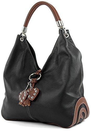 modamoda de - 330 - ital Handtasche Shopper Schultertasche Leder, Farbe:Schwarz/Braun