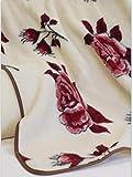 Manta de lana natural Merino, color rojo, con marca de rosa, ideal para regalo (doble 160 x 200 cm)