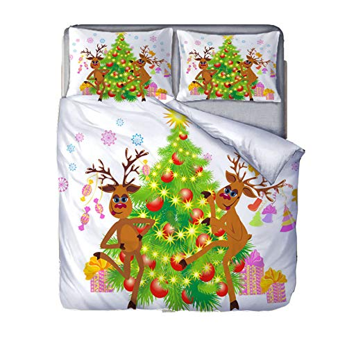 YZDM Christmas Animals 3D Deer and Dogs Duvet Cover Bedding Set, Microfibre Bedding Set, for Adults and Children Home Christmas Decoration (A,135x200)