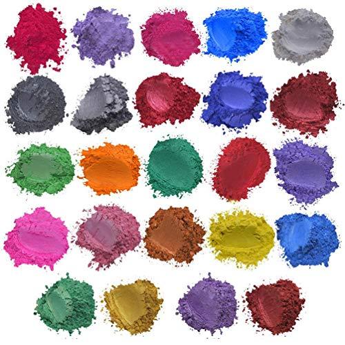 Koojawind 24 Farben X5G Glimmerpulver, Epoxidharz Metallic Seife Farbe Set Farbe Pigment Pulver Glimmer FüR Diy Handarbeit Nail Art Lippenstift KöRper