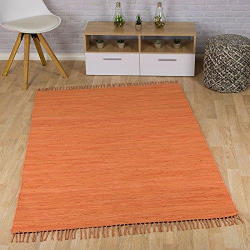 Taracarpet Flachweb-Baumwollteppich handgewebter handweb-Teppich Fleckerl Amrum aus 100% Baumwolle -auch bekannt als Dhurry oder Flickenteppich Uni orange 060x120 cm