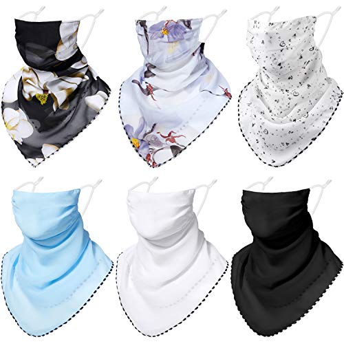 6 Pieces Chiffon Sun Protection Face Cover Ear Loops Bandana Neck Gaiter Scarf Floral Printed Balaclava Face Coverings