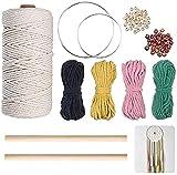 Ytesky Hilo de algodón,atrapasueños, juego de hilo de macramé, cordón de algodón natural,anillo de hierro,cuentas de madera,varillas de madera para manualidades,decoración(3 mm x 100 m)