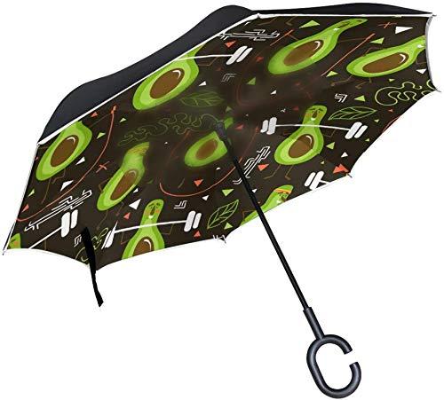 Fitness Aguacate A prueba de viento Mango en forma de C A prueba de viento A prueba de rayos UV Viaje al aire libre Sol Coche Paraguas reversible