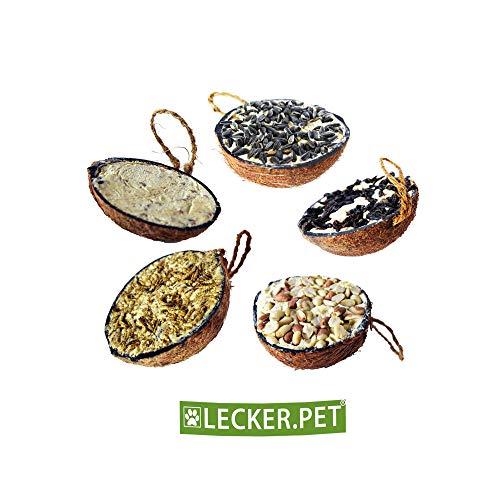 Lecker.Pet® 2 x 10 Stück halbe Kokosnuss gefüllt Vogelfutter Wildvögel Fettfutter
