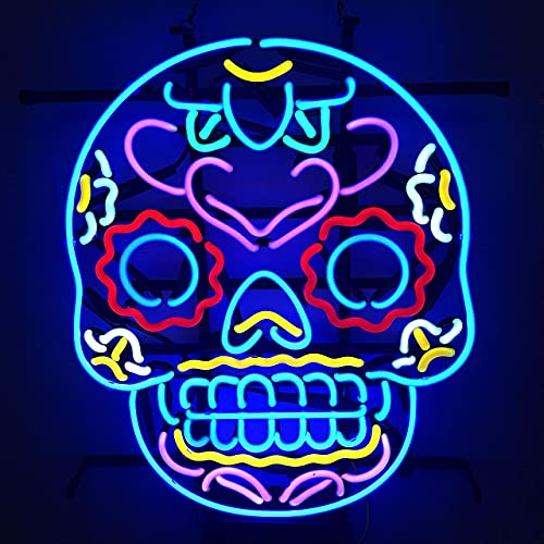 Party Decoration Neon Sign Light Skull head Real Glass Handcraft Beer Bar Pub Store Party Room Wall Window Display Neon Signs Birthday Party, Wedding, Home Wall Hanging Light (NO LED)19x15