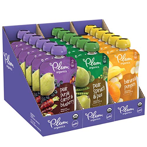 organics Plum Organics Stage 2, Organic Baby Food, Fruit and Veggie Variety Pack, 4 Ounce Pouches (Pack of 18)