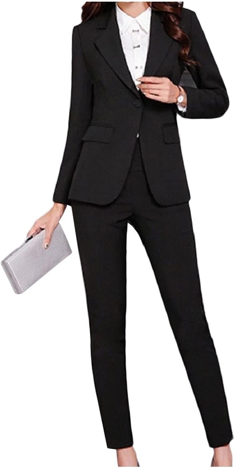 Andopa Womens Tapered Solid color Notch Lapel OL Office Jacket and Pant Suit
