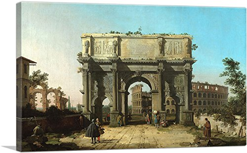 """ARTCANVAS View of The Arch of Constantine with The Colosseum 1745 Canvas Art Print by Canaletto - 26"""" x 18"""" (0.75"""" Deep)"""