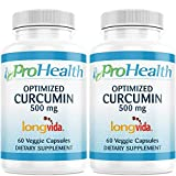 ProHealth Optimized Curcumin Longvida 2-Pack (500 mg, 60 Capsules Each) 285x More Bioavailable | Joint Health | Cognition | Anti-Inflammatory | Antioxidant Supplement