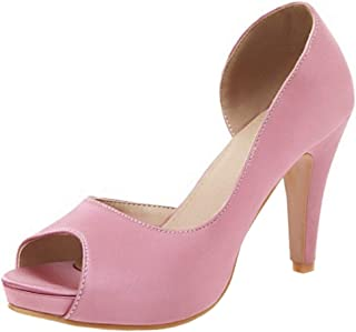 COOLCEPT Women Elegant Cone Heel Pumps Peep Toe