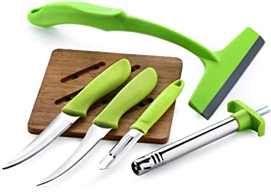 Ganesh 5 in 1 Multi Utility Combo Kitchen Knife Set with PEELR Knife, Gas Lighter and Kitchen Wiper, Green, Standard
