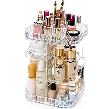 IEEK XL 360-Degree Rotating Adjustable Shelves Makeup Cosmetic Organizer Storage,Clear,10.6 x10.6 x13.7 ,Pack of 1