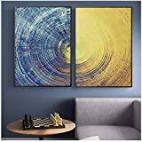 ZHANGSHAIFFBH Pintura en Lienzo Patrón de círculos Abstractos Carteles e Impresiones Modernos Imágenes de Arte de Pared para Sala de Estar Decoración del hogar 50x70 cm (19.7'x27.6) x2 Sin Marco