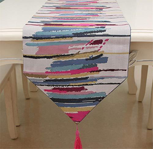 Hinleise Tischläufer, Tischdecke – mit farbigen Streifenmuster, Tischdecke für Tischmatte, Esszimmer, Partymöbel, Dekoration - 2