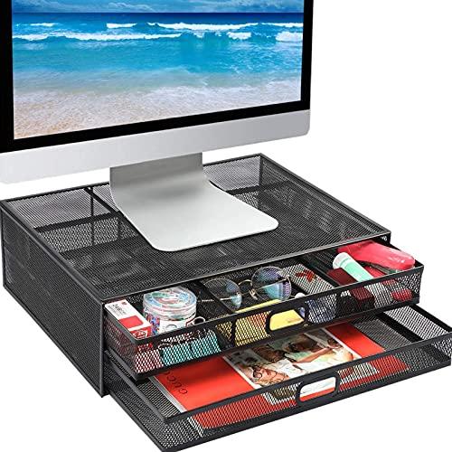 Soporte de monitor con caja de almacenamiento de escritorio de metales de metal, computadora portátil, portátil, soporte de impresora con cajón de almacenamiento ext