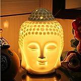 Royal Premium - Diffusore elettrico in ceramica con dimmer switch per controllare la fragranza e l'intensità della luce, Buddha (altezza: 6,5 pollici), senza 1 bulb e 1 bottiglia di olio essenziale.